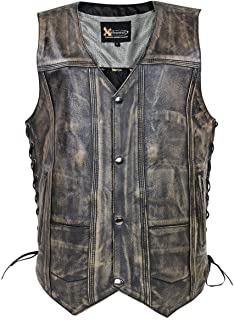 brown leather vest with pockets