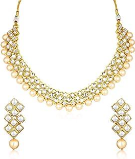 Sukkhi Glimmery Pearl Gold Plated Wedding Jewellery Kundan Choker Necklace Set for Women (N73523_D1)
