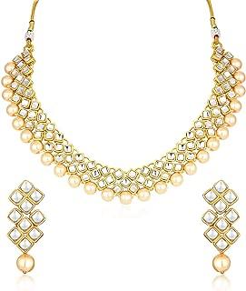 Sukkhi Gold Plated Kundan Pearl Fancy Choker Necklace Set Traditional Jewellery Set with Earrings for Women & Girls (N73523_D1)
