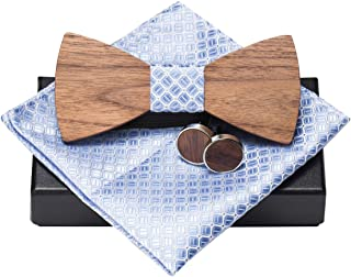 d9c9d01268a9 3 · Amzchoice Classic Handmade Mens Wood Bow Tie with Matching Pocket Square  and Mens Cufflinks Set (
