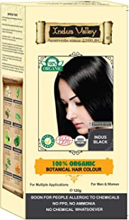 Indus Valley 100% Botanical 100% Organic Indus Black Hair Color For Allergy Sufferers For sensitive skin people (Ecocert & USDA Certified) with Great Herbal Aroma