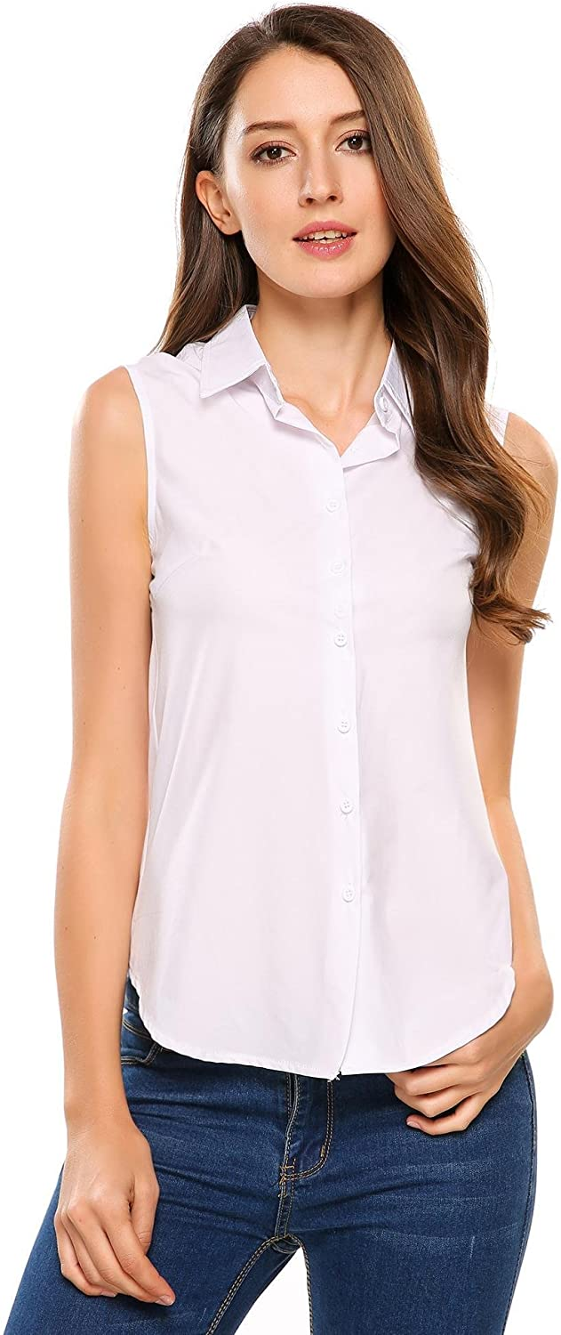 Zeagoo Women's Sleeveless Button Down Shirt Tops Solid Casual Loose Blouse