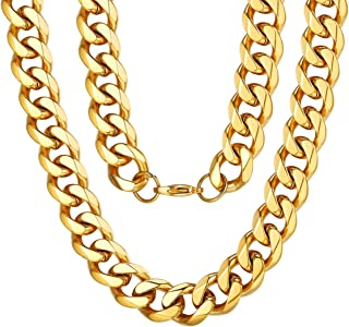 316L Stainless Steel//Gold Plated Send Gift Box ChainsPro 3MM//6MM//9MM//12MM Curb Cuban Link Chain Jewelry,14//18//22//24//26//28//30 inch