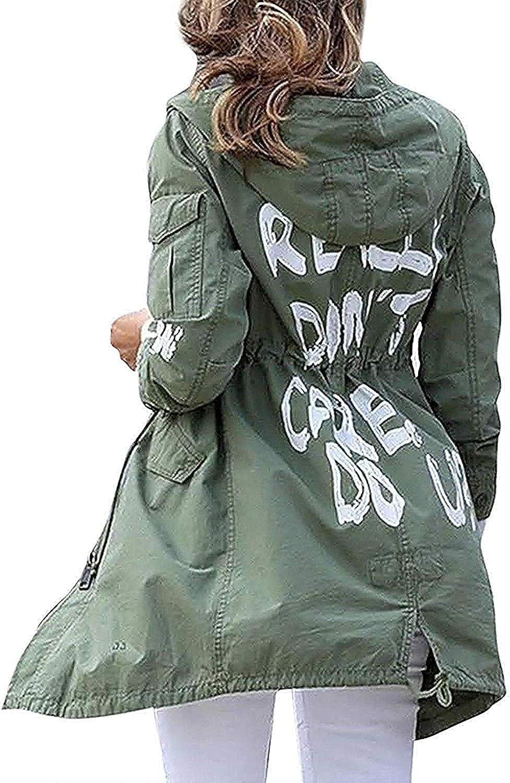Women's I Really Don't Care Do U Melania Trump Cotton Coat Jacket Graffiti Slogan IDont Care Army Green Mechanic Jacket