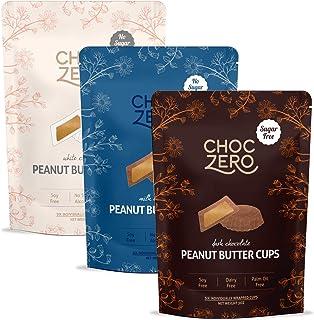 ChocZero's Dark, Milk, White Chocolate Peanut Butter Cups - NO ADDED SUGAR, KETO FRIENDLY, 3bags
