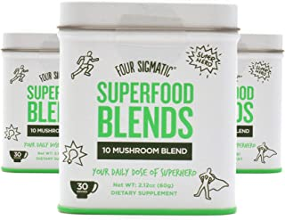 Four Sigmatic Superfood Blends 10 Mushroom Blend, 30 Servings. Vegan, Paleo and Gluten-Free Drink Mix, 60 Grams (3)