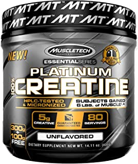 MuscleTech Platinum Creatine, Ultra-Pure Micronized Creatine Powder, Unflavored, 14.11 Oz (400 Grams)