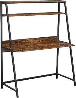 VASAGLE Bureau, Table, avec étagère de Rangement à 2 Niveaux, pour Bureau à Domicile, bibliothèque, Style Industriel, Marr...