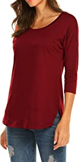 Women's Casual 3/4 Sleeve Loose Tunic Tops Scoop Neck T-Shirt