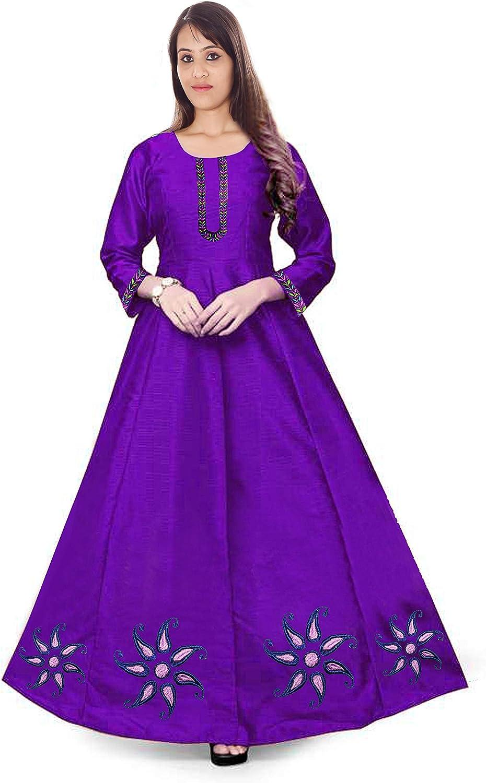 Lakkar Haveli Embroidered Women Silk Dress Long Tunic Ethnic Frock Suit Party Wear Casual Maxi Dress Purple