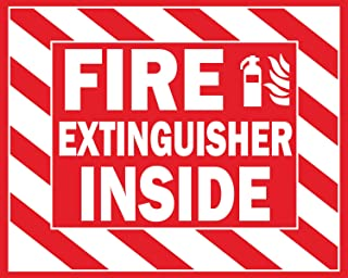 """Fire Extinguisher Inside Stickers 4"""" x 5"""" inches Red Striped Premium Self-Adhesive Vinyl, Laminated/Weather/Scratch/Water ..."""