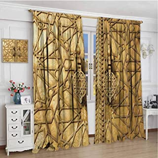 championCEL Moroccan, Thermal/Room Darkening Window Curtains, Main Gates of Royal Palace in Marrakesh Morocco Travel Tourist Attraction Photo, Patterned Drape for Glass Door, Pale Brown, 84x84 inch