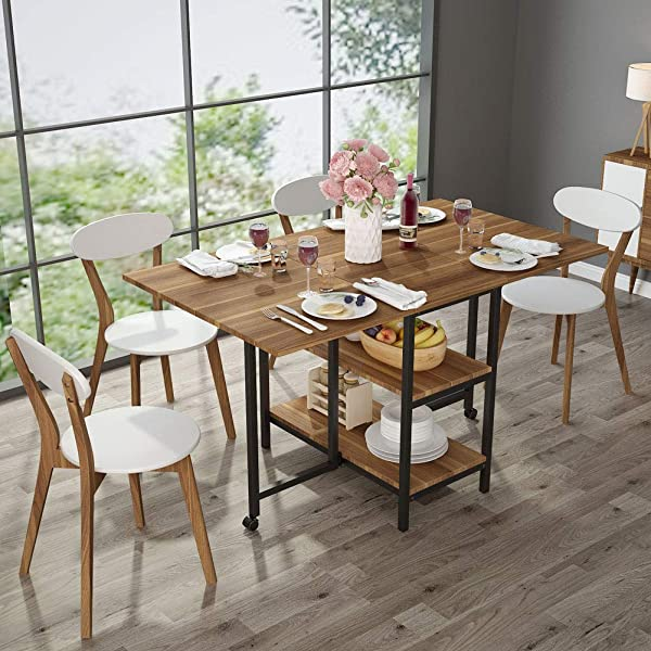 Folding Dining Table Tribesigns Expandable Dining Table With Double Drop Leaf Extra 2 Tier Storage Shelf 2 Lockable Casters For Home Kitchen Use Chairs Not Included Dark Walnut