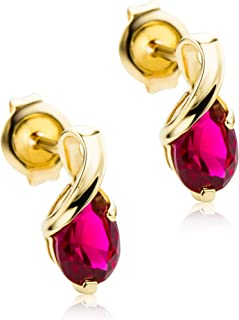 SMALL GOLD TONE  CUT-OUT CIRCLE WITH RED ENAMEL /& CLEAR DIAMANTE EARRINGS