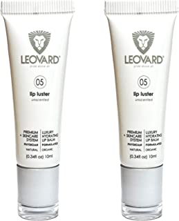 Luxury Lip Luster (2 Pack) + Hyaluronic Acid Lip Serum for Smoother and Softer Lips. Moisturize, Soothe and Hydrate Dry, Cracked Lips – Natural & Organic Lip Balm/Serum for Men & Women (Unscented).