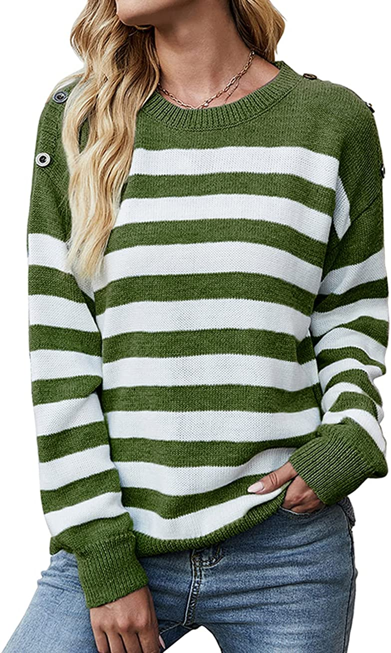 KIRUNDO Women's Casual Long Sleeves Crew Neck Striped Print Knit Sweater Loose Comfy Pullover Tops Deco with Button