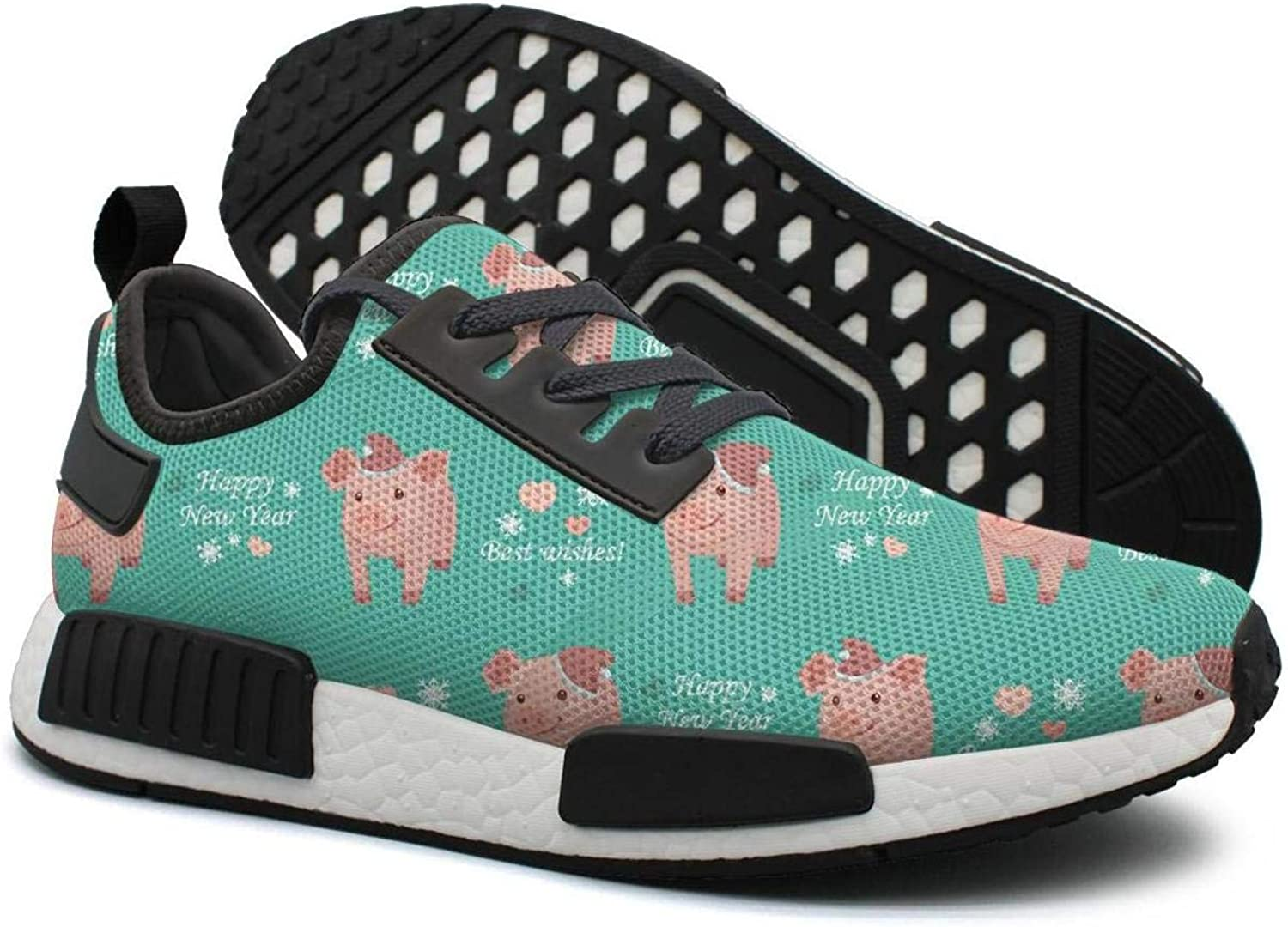 Pduiqo Happy New Year 2019 Pig Poster Women's Jogger Lightweight Sneakers shoes Gym Outdoor Running shoes