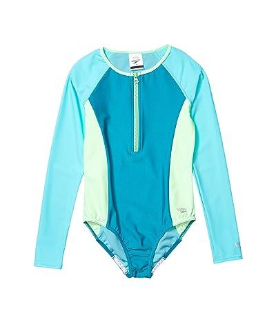 Speedo Kids Long Sleeve Color Block One-Piece (Big Kids) (Capri Breeze) Girl