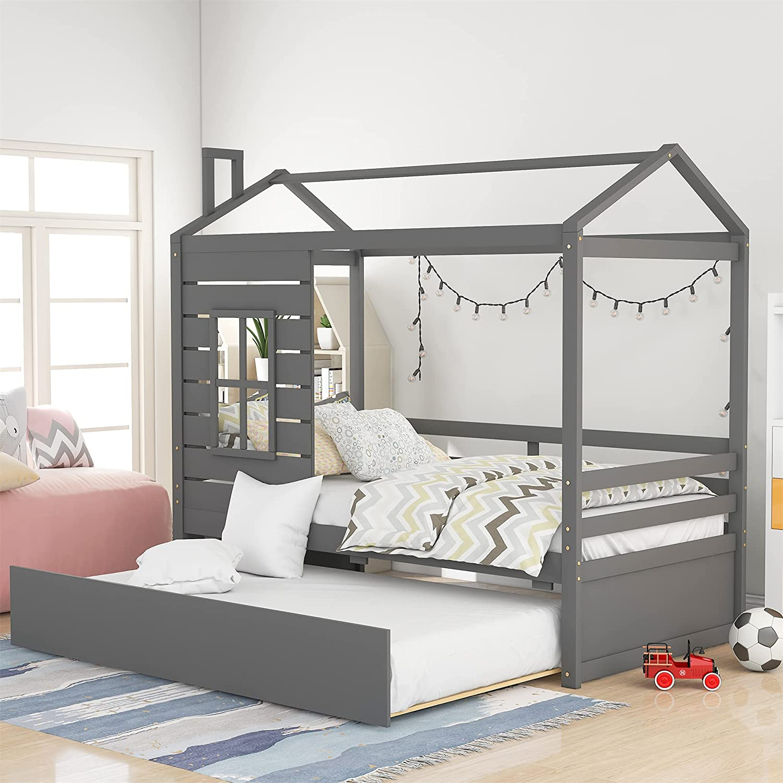 毎日がバーゲンセール Harper Bright Designs House Bed トラスト T with Twin for Kids