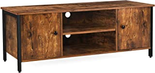 HOOBRO TV Stand, TV Console Storage Cabinet with 2 Open Shelves, Rustic Coffee Table with Doors in Living Room, Entertainment Room, Office, Wood Look Accent Furniture with Stable Metal Frame