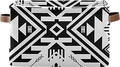 ALALAL Boîte de Rangement rectangulaire pour Organisateur de boîte de Rangement Noir et Blanc Couleur Tribal Navajo boîte ...
