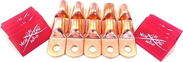 """Sky High Car Audio (10) 1/0 Gauge Copper Ring Terminals 3/8"""" RED Heat Shrink Tubing LUGS"""