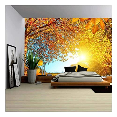 Autumn Landscape Wall Mural Blue Sky /& Trees Photo Wallpaper Living Room Decor