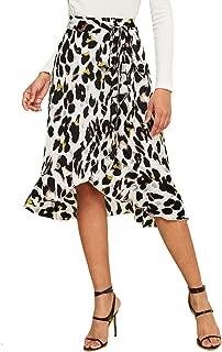 Women's Leopard Print Ruffle Hem Casual Midi Wrap Skirt