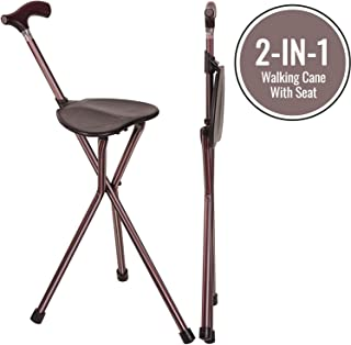 Walking Stick Chair Combo, Folding Walking Cane, Switch Sticks Lightweight Adjustable Medical Foldable Cane with Seat, Kensington