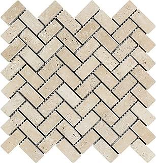 Tumbled Ivory Travertine Herringbone Mosaic, 1 x 2