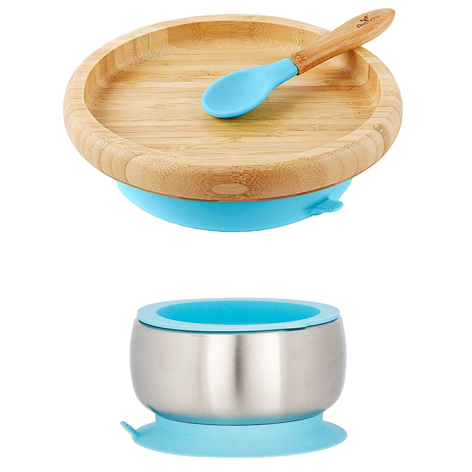 Sustainable Gift Set Blue - Baby Shower, Baby Registry, Home Set & More. Baby Girl, Baby Boy, Unisex. Stainless Steel Baby Bowl Set + Bamboo Classic Plate Set. BPA Free