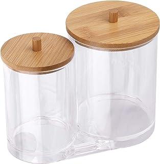 Tbestmax Cotton Swab Pads Holder, Cotton Buds Qtip Dispenser, Bathroom Jar Clear Organizer for Storage with Wood Lid