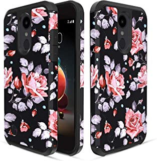 LG Aristo 2/Rebel 4 LTE/Tribute Empire/Dynasty/Aristo 3/3 Plus/Zone 4/Fortune 2/K8S/K8+Plus/Risio 3/Phoenix 4 Case,Dual Layer Heavy Duty Silicone Shockproof Phone Cover for Women/Girls,Rose Flower