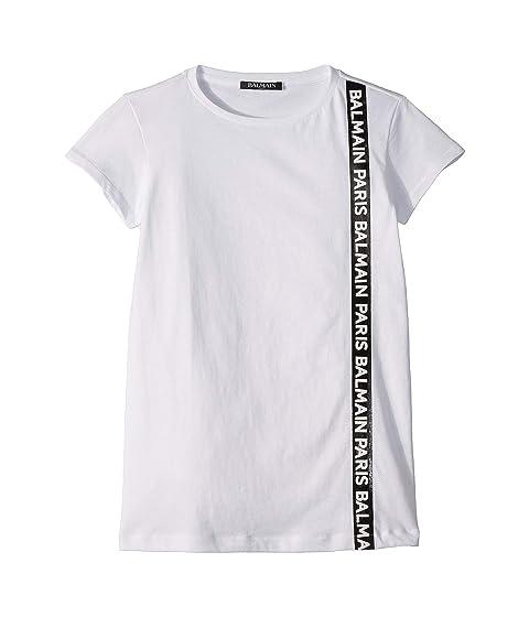 Balmain Kids Short Sleeve T-Shirt Dress w/ Side Logo Trim (Little Kids/Big Kids)