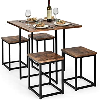 Giantex 5 Piece Dining Table Set, Dining Set for 4 with...