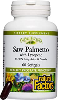 HerbalFactors by Natural Factors, Saw Palmetto, Supports Healthy Prostate Function with Lycopene, 60 softgels (60 servings)