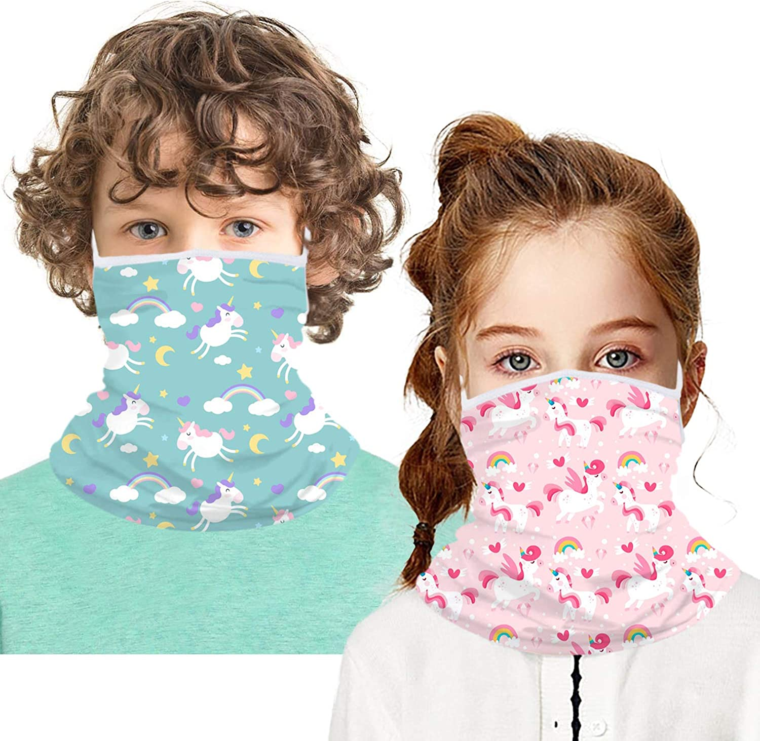 2 PCS Kids Bandana Face Mask with Ear Loops Thicker Fleece Winter Face Covering Neck Gaiter for Christmas Xmas Boy Girl