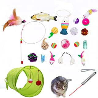 Cat Toys AKAT, 21 Kitten Toy Assortments, 2 Way Tunnel, Laser Red Light Pointer, Catnip Fish, Cat Feather Teaser - Wand In...