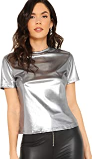 Women's Casual Metallic Shiny Tops Round Neck Short Sleeve Tee Shirts Party T-Shirt