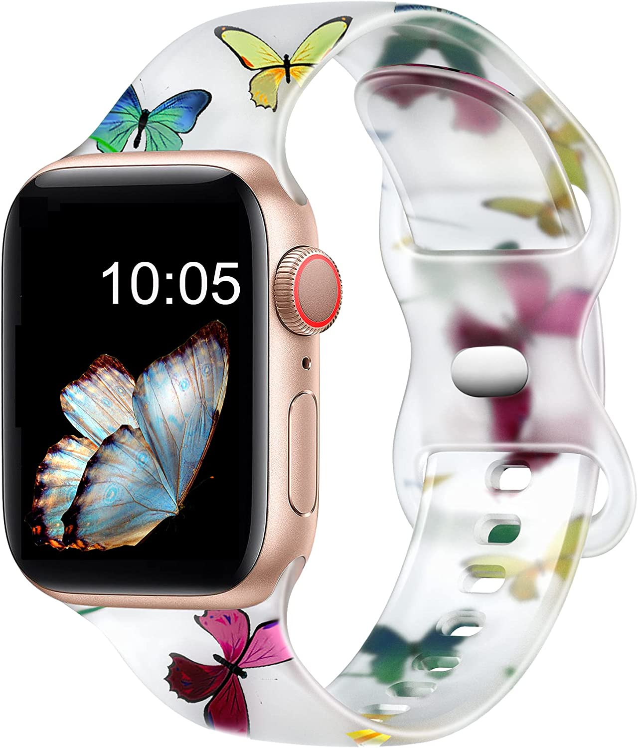 Witzon Cute Transparent Bands Compatible with Apple Watch Bands 38mm 40mm 41mm 42mm 44mm 45mm for Women Men, Soft Silicone Sport Strap Replacement Band for iWatch Series 7/6/5/4/3/2/1/SE