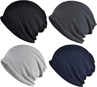 ELLEWIN Cotton Slouchy Beanie Hip-Hop Soft Lightweight Running Beanie Adult Dwarf Hats Chemo Cap for Men Women
