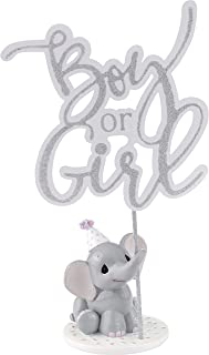 Precious Moments Elephant Gender Reveal Cake Topper Resin/Acrylic 183404 Figurine, One Size, Multi, 4 Each