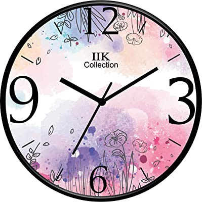IIK COLLECTION Designer Home/Kitchen/Living Room/Bedroom/Office Plastic Analogue Round Wall Clock with Glass (28 x 28 x 6 Cm)