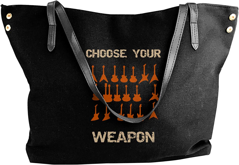 Choose Your Weapon Electirc Guitar Women'S Leisure Canvas Handbag For Shopping Handbag