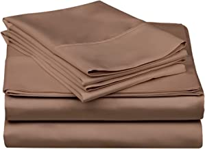 Superior 100% Premium Combed Cotton, 300 Thread Count 4-Piece Bed Sheet Set, Single Ply Cotton, Deep Pocket Fitted Sheets, Soft and Luxurious Bedding Sets - Queen, Taupe