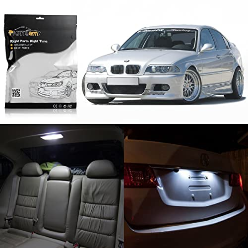 b93b9bcd25f6 Partsam 1999-2005 BMW E46 Sedan Wagon Coupe White Interior LED Light  Package Kit (