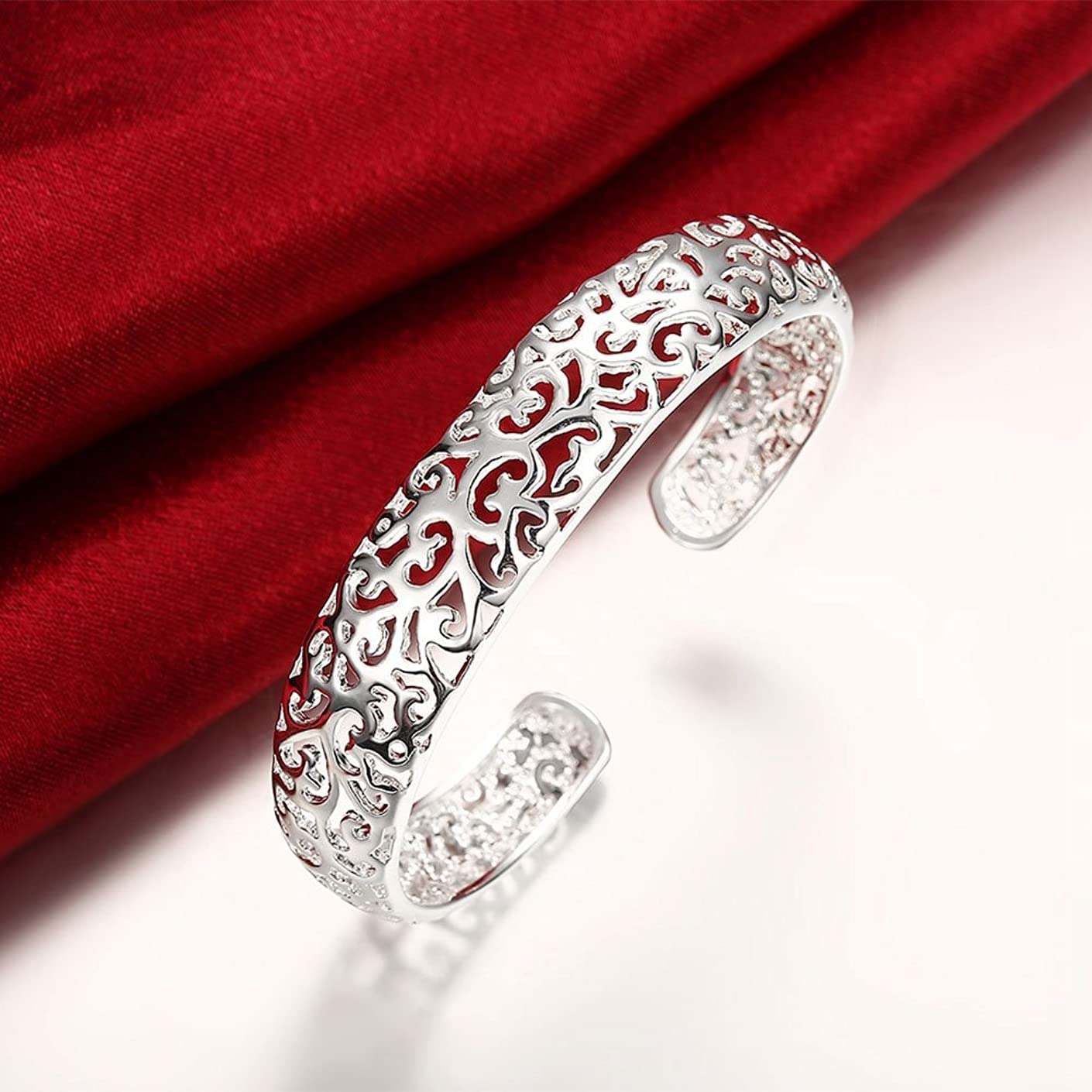 QIANQIAN 925 Silver Plated Open Adjustable Openwork Bracelet Packet Edge Pattern Vintage Bracelet for Women