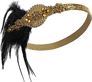Vijiv Vintage Black Feather Silver 20s Headpiece 1920s Flapper Headband