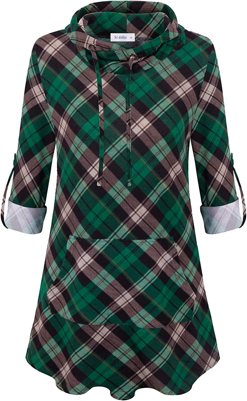 Siddhe Womens Hoodie Sweatshirt Casual Shirt Plaid Long Sleeve Pocket Tunic Tops