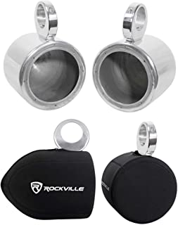 Pair Rockville MAC65S 6.5 Polished Aluminum Wakeboard Tower Speaker Pods+Covers